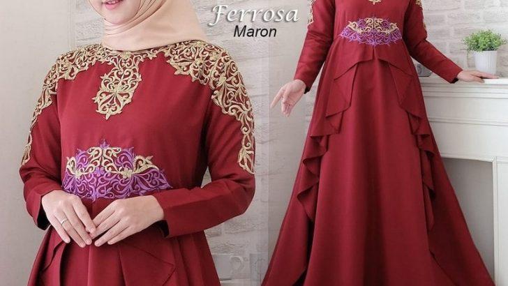 Gamis-Muslimah-Terbaru-Gamis-merah-marron-dengan-motif-di-dada-min