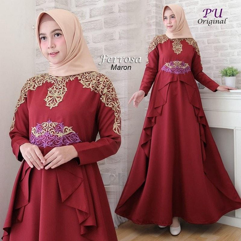 Gamis Muslimah Terbaru - Gamis merah marron dengan motif di dada