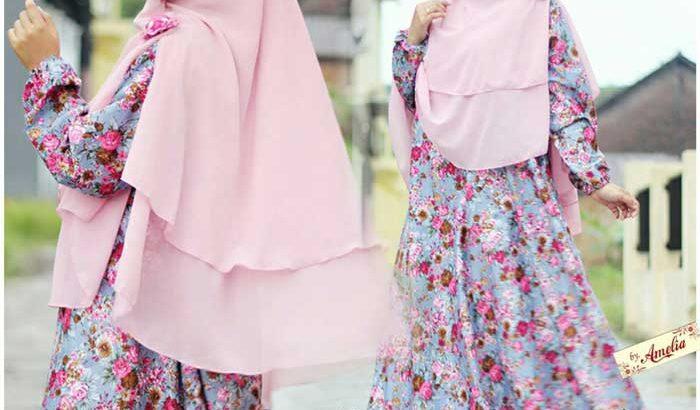 Gamis Motif Bunga Warna Pink Biru Anggun
