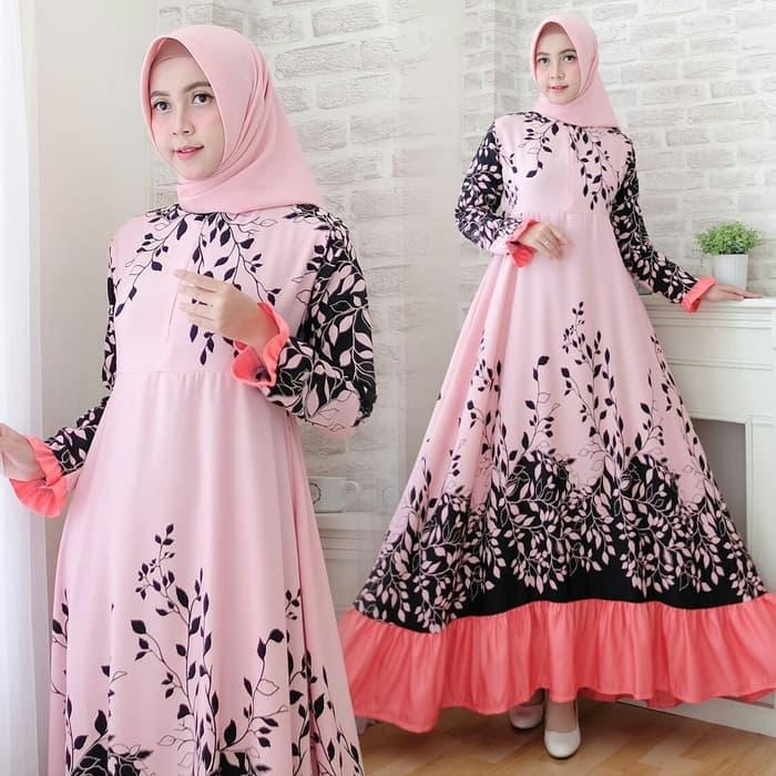 Gamis Motif Bunga Warna Pink Hitam Cantik