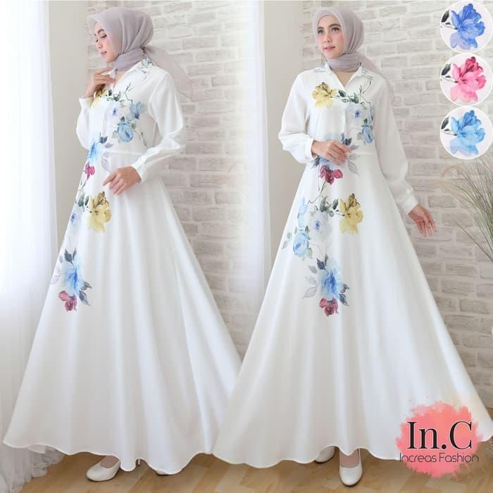 Gamis Motif Bunga Warna Putih Biru Cantik