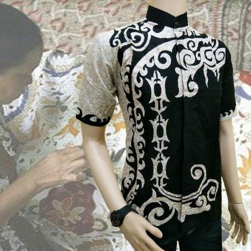 baju koko putih kombinasi bordir batik