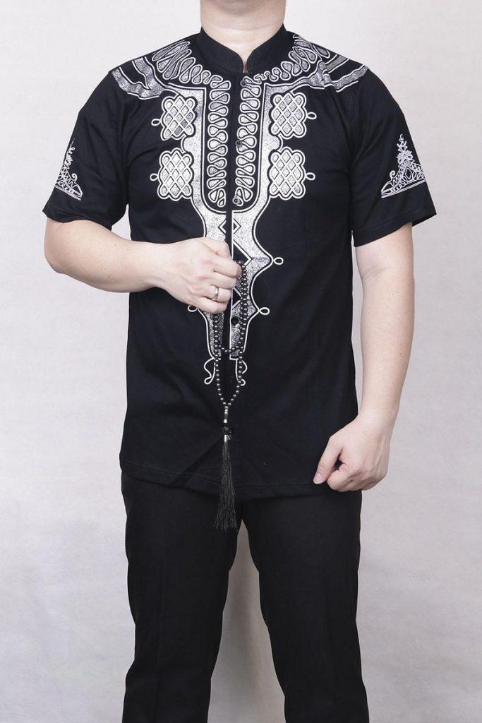 baju koko kombinasi batik di dada