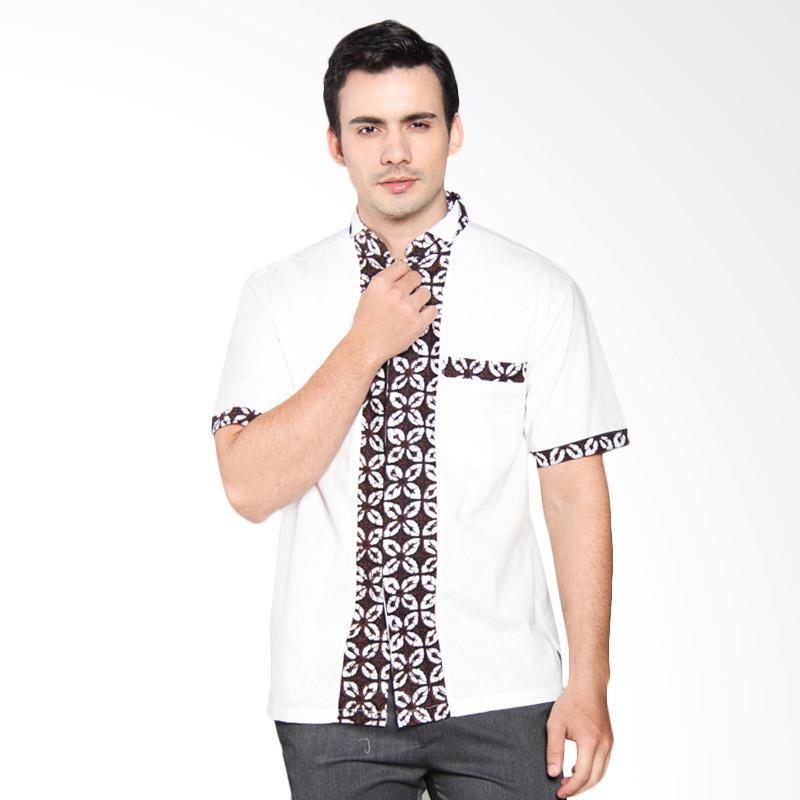 baju koko kombinasi putih dan batik