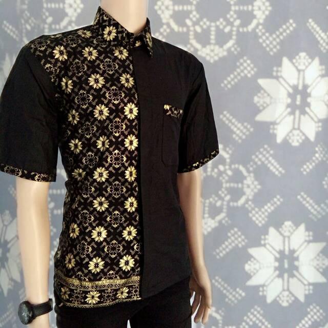 baju koko kombinasi separuh hitam dan batik